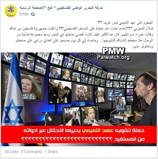 b645102f2 Image and text posted on the official Fatah Facebook page. Fatah edited a  pre-existing antisemitic photoshopped image to demonize Israeli security  services.